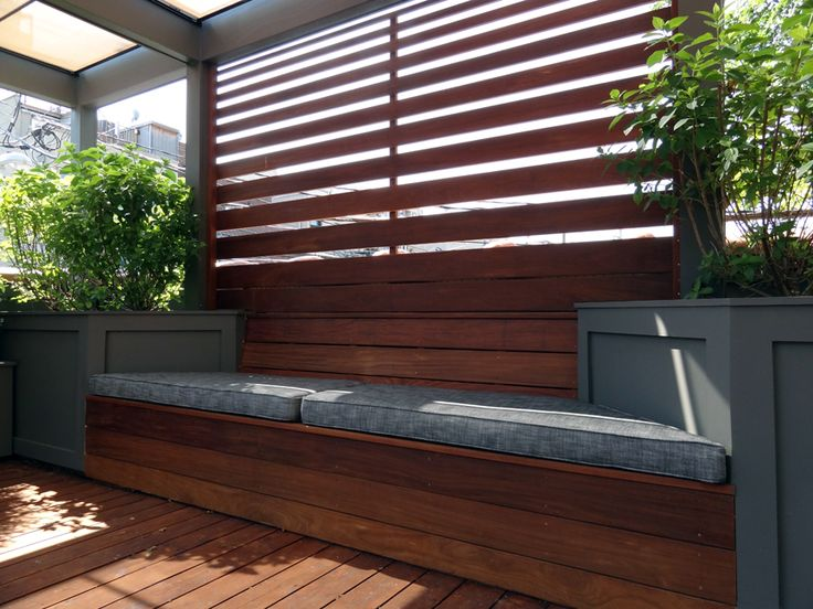 Roof Deck | Pergola | Urban | Garden | Landscape | Design | Planters | Ipe Screening | Bench