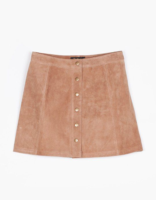 Peccary skirt with buttons - SKIRTS - WOMAN | Stradivarius