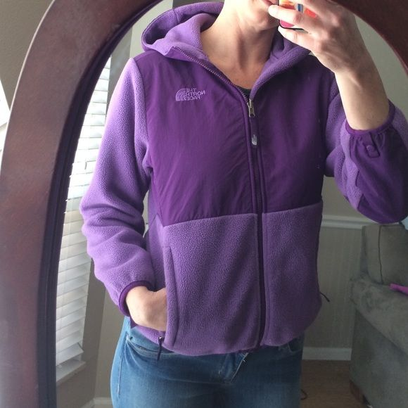 """Purple North Face Denali This jacket is a girls XL but as you can see it fits me and I wear a Med to large.  I think it would be best for a small to medium.  No flaws other than slight fading.  Measures 25"""" long and 20"""" armpit to armpit North Face Jackets & Coats"""