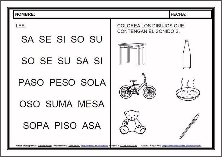 MATERIALES - Fichas de lectoescritura - S.    Fichas para el aprendizaje de la lectoescritura en letra mayúscula.    http://arasaac.org/materiales.php?id_material=983