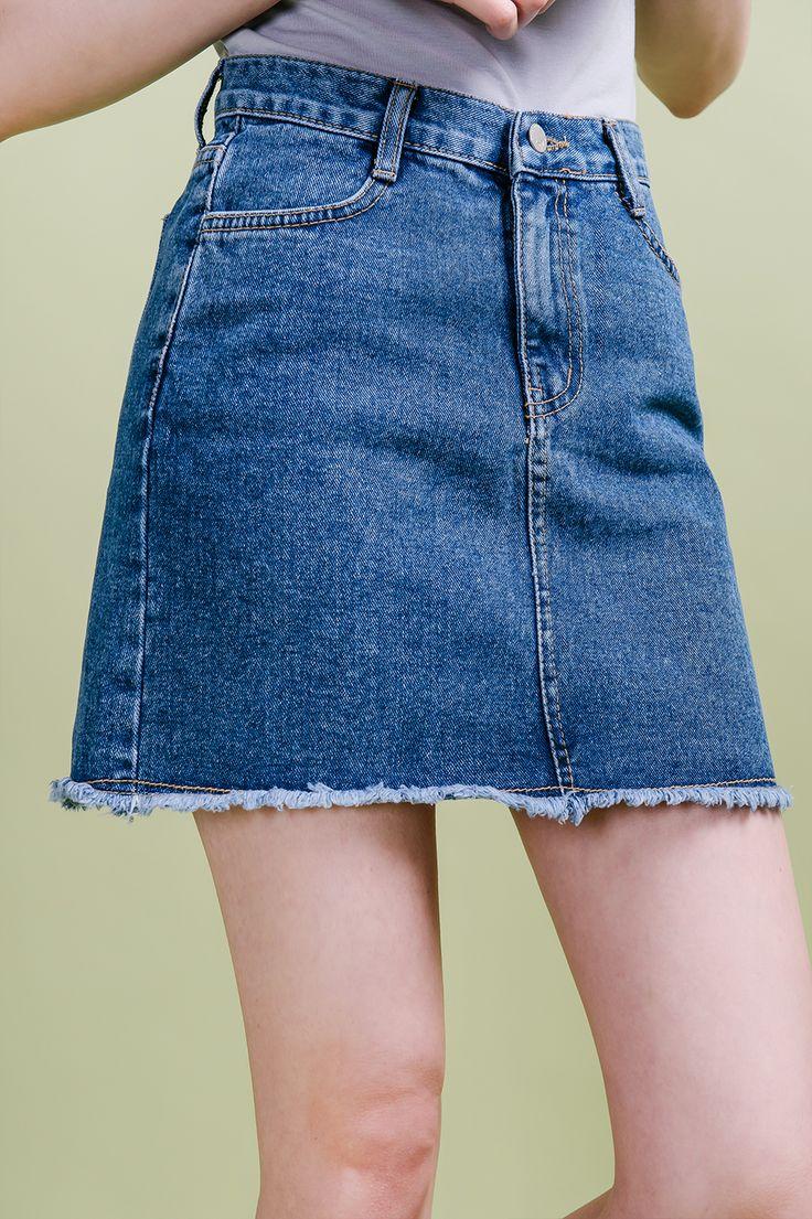 denim mini skirt- mixxmix