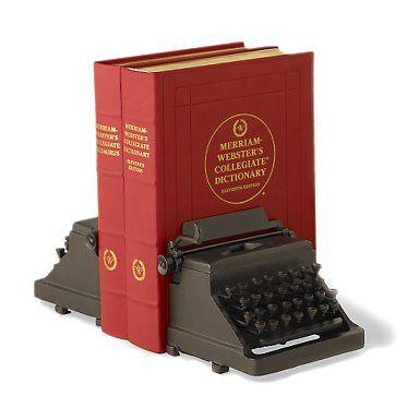 vintage typewriter book ends