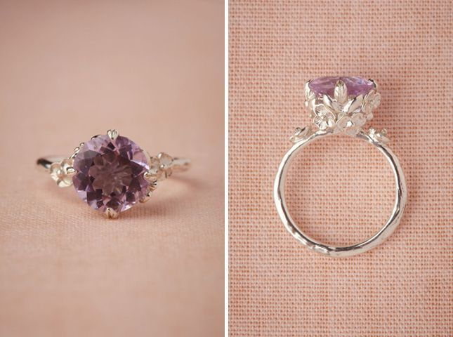 Posy Ring ($557): Made with a beautiful pink amethyst front and center, this non-traditional option has a feeling of royalty to it.