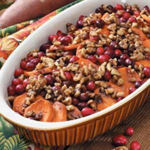 Sweet Potato Cranberry Bake Recipe  These are my FAVORITE!  Not a yucky mess or too sweet.  Nice balance of sweet and tart.  I've made them the last 3 years and i like to freeze my cranberries before hand as it makes them bake softer and not so tart.  I also add a good granola to the top for extra crunch :)  YUM!