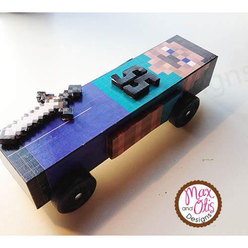 printable minecraft pinewood derby car skin downloadable pdf