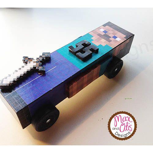 Printable Minecraft Pinewood Derby Car Skin. Downloadable PDF