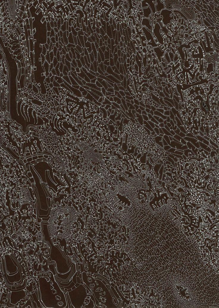 Clément Bagot, Sans titre, 2015, encre blanche sur papier mi teinte, 21 x 29,7 cm www.evahober.com