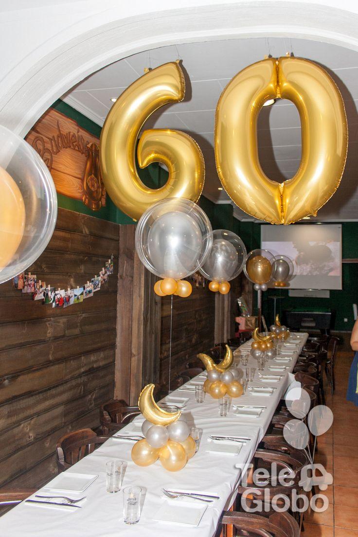 Decoración con globos para 60 cumpleaños