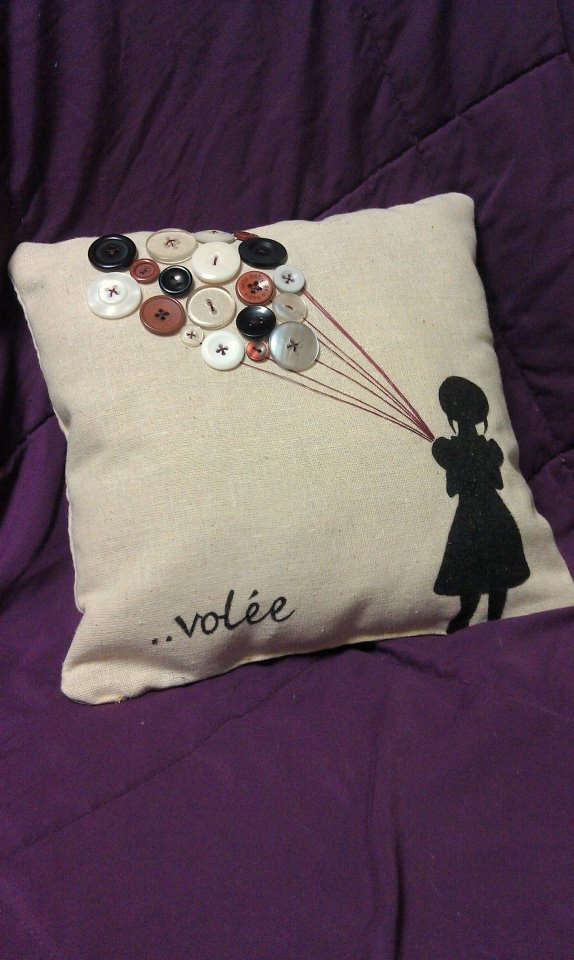 Adorable handstitched girl with balloons pillow 10x10. $35.00, via Etsy.