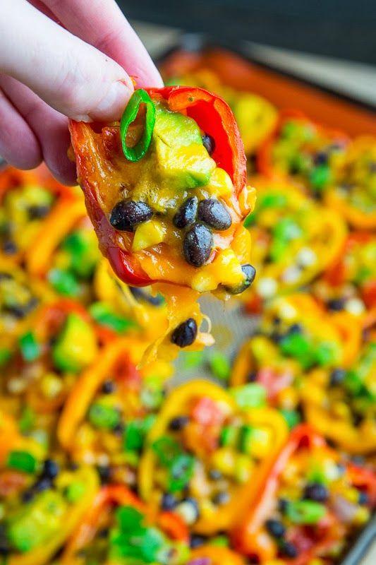 Mini pepper nachos with corn, black beans, and avocado