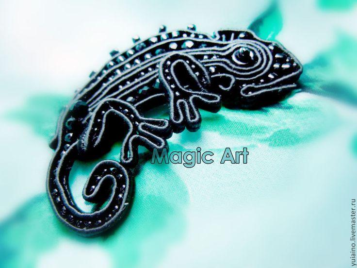 """Купить Сутажная брошка """"Хамелеон"""" - черный, хамелеон, украшение, брошь, брошь ручной работы, подарок"""