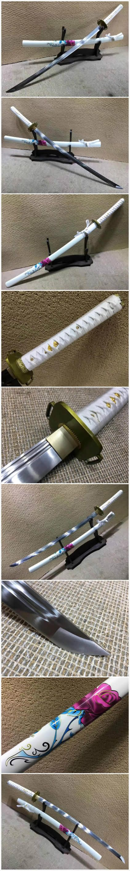 Samurai sword,High carbon steel,White scabbard,Alloy fitteds,Length 39 inch