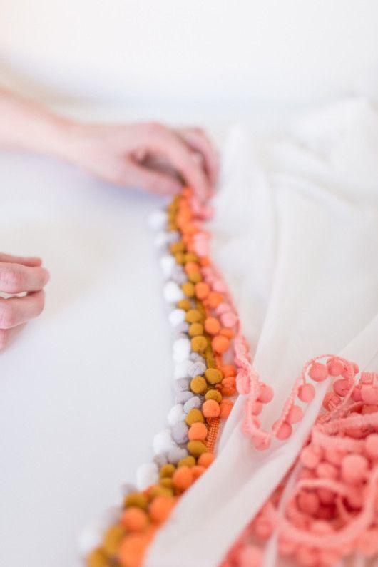 orange pop / sugar & cloth's DIY summer pompom throw