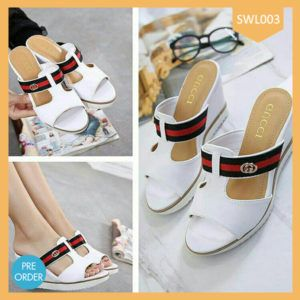 Fashion Flat Wedges Gucci White Terlaris