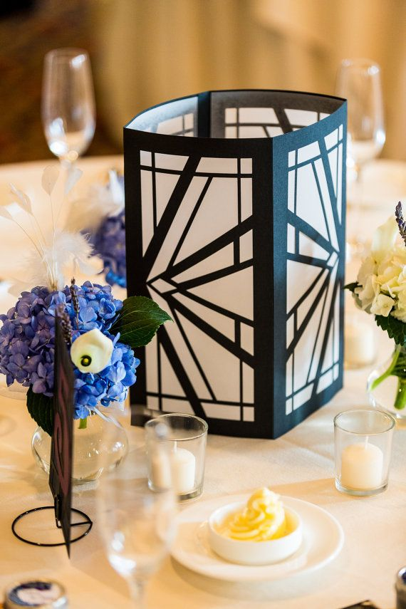 Art deco luminaries black white wedding centerpiece
