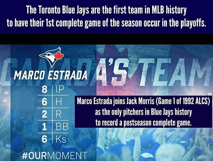 Marco Estrada pitches the Toronto Blue Jays' first complete game of the season, in a loss in Game 1 of the 2016 ALCS against the Cleveland Indians. Jack Morris. 2016 postseason. MLB Baseball. Canada's Team. #OurMoment.