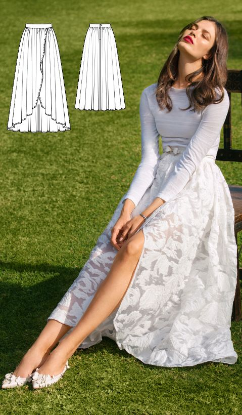 Wrap Skirt Burda Mar 2017 #102A http://www.burdastyle.com/pattern_store/patterns/wrap-maxi-skirt-032017