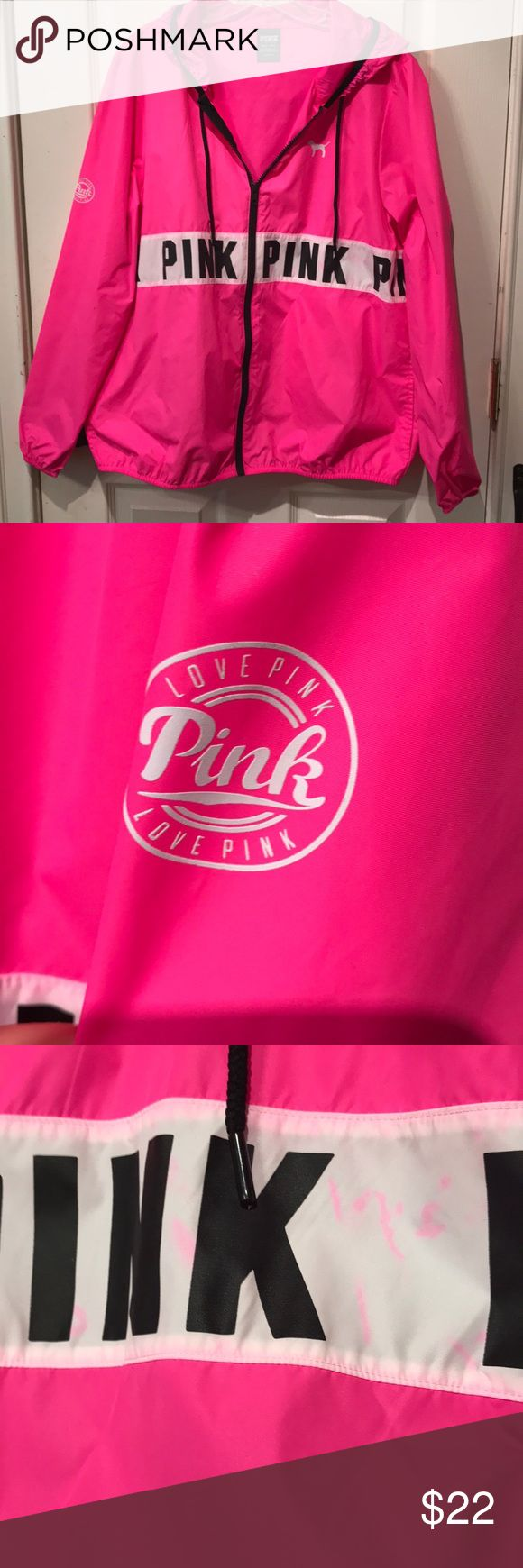 BS PINK rain parka Some color transfer of pink to the white band as shown in photos. There are also some random dots on the sleeve. Even with these flaws this jacket is still too pretty to throw away!  The color is fabulous! Make an offer! Victoria's Secret Jackets & Coats