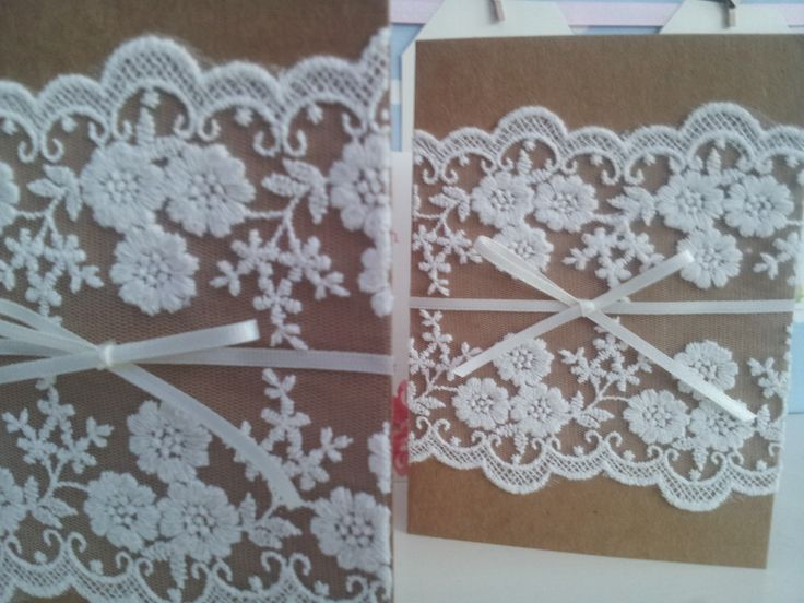 Rustic kraft card and beautiful ivory lace invitations