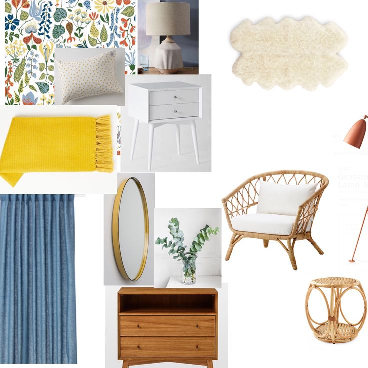 Stig Linberg Wallpaper, West Elm lamp, West Elm white mid century night table, West Elm Yellow Blanket, Ikea Rattan Chair, West Elm Mid Century wood night table, Ikea Linen Curtains, Gubi Grasshopper Lamp, Serena and Lily rattan side table, School House Electric Mirror, Amazon Sheepskin rug