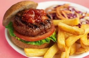 You can enjoy this classic burger and chips recipe even on a diet, made with baking potatoes and extra lean beef for a lower-fat treat. Serve with homemade salsa and salad.Get the recipe: Slimming World's burger and chips