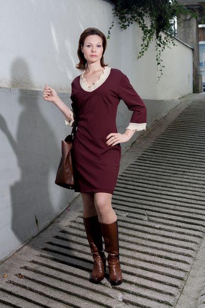Kleid Uta Klassisches Kleid farbe Marsala  von rote-tulpe auf DaWanda.com