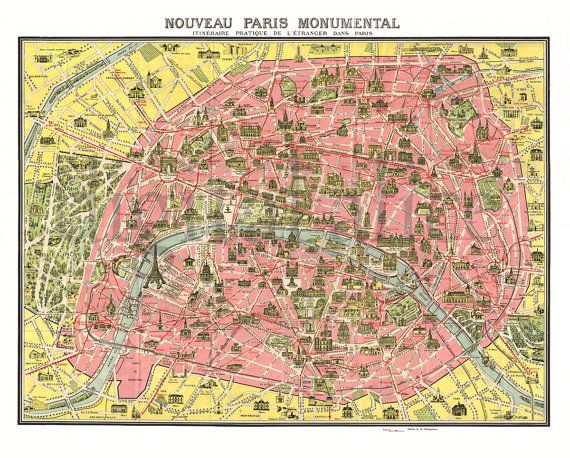Antique PARIS MAP Old Pictorial Map of Paris by DigitalAlice