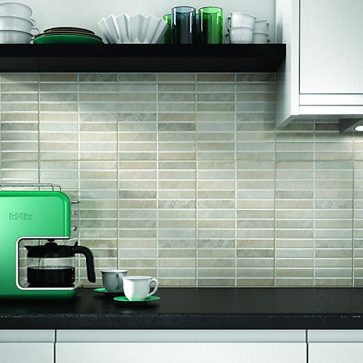 Wickes Napoli Grey Mosaic Effect Gloss Ceramic Wall Tile