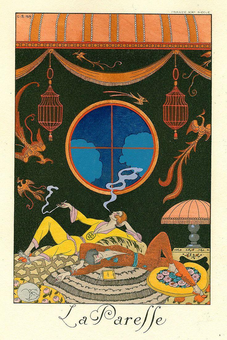 Georges Barbier, Les Sept Péchés capitaux, La Paresse, published in Falbalas et Fanfreluches, Almanach des modes 1925