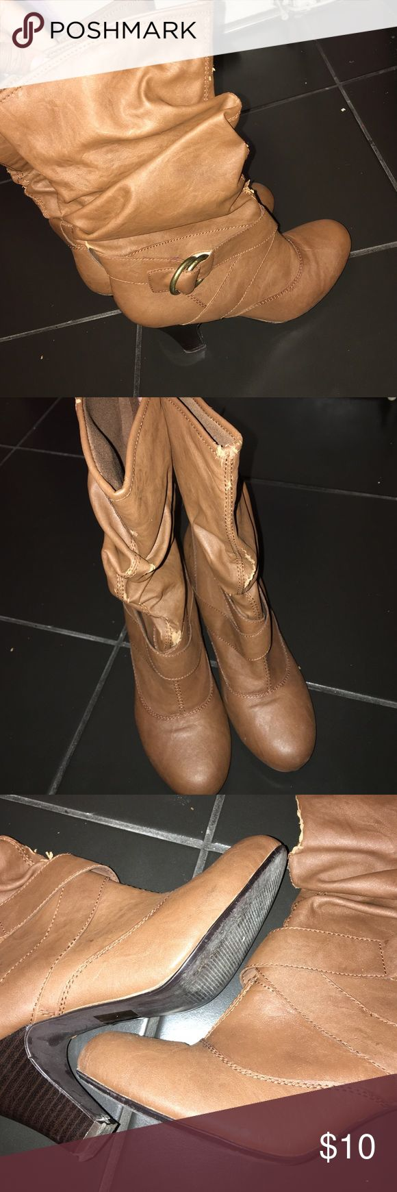 Cathy Jean Brown Heel Boots Brown heel boots. Worn gently. Don't want anymore. Cute for the winter. Cathy Jean Shoes Heeled Boots