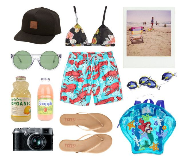 """rock lobster"" by wigglytuff ❤ liked on Polyvore featuring Vilebrequin, La Fée Verte, Quiksilver, Le Specs, T KEES, Polaroid, Swarovski and Fujifilm"