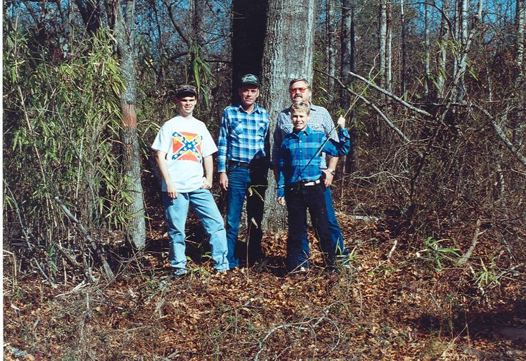 Barlow clan,  Hancock County,  Georgia, March of 1993, left to right: Derek, Sherrod, Eric (front), and Clayton Barlow (behind Eric)
