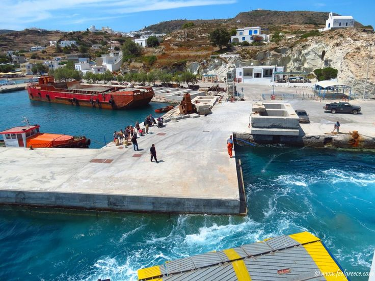 The ferry maneuvers around the pier; Selected and quality high resolution photo from Kimolos, Cyclades Islands, Greece