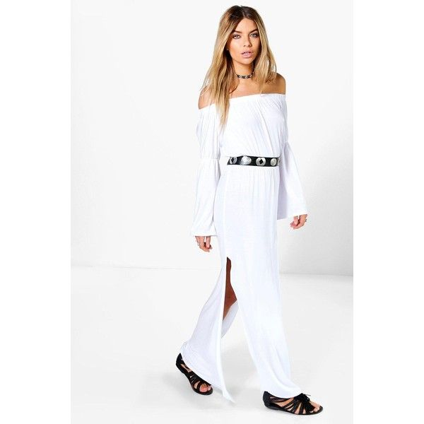 Boohoo Candy Wide Sleeve Off Shoulder Maxi Dress ($11) ❤ liked on Polyvore featuring dresses, white, white maxi dress, white off-shoulder dresses, white party dresses, white skater dress and white mini dress