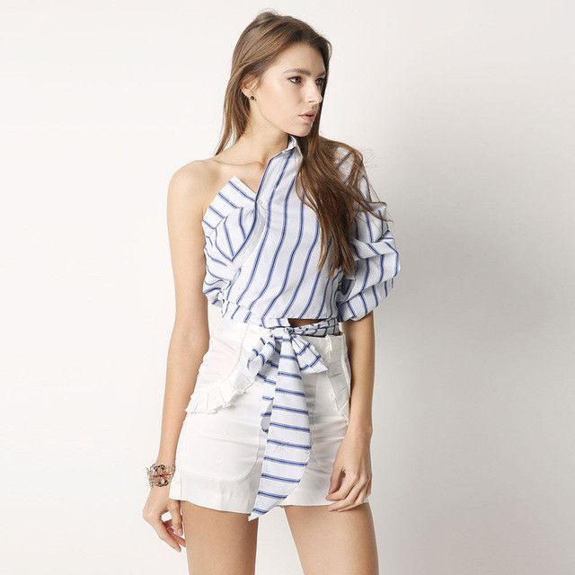 HDY Haoduoyi Striped Women Blouses One Shoulder V-neck Half Puff Sleeve Casual Shirts Women Bow Ruffle Tie Waist Slim Tops