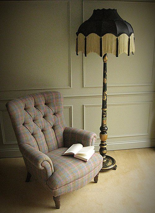 A  beautiful black lacquer standard lamp in the Chinoiserie style, circa 1920s.