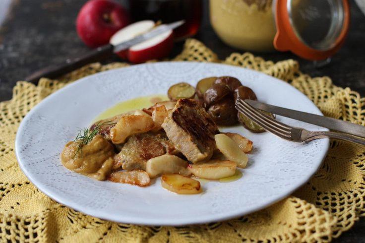 Filetto di maiale con mele senape e sciroppo dacero