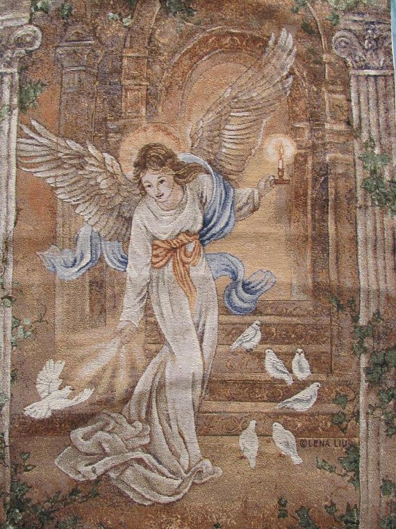 "Vintage Tapestry W25""x H38"" Tab Top Wall Hanging Textile Tapestry with Angel & Birds; Woven Wall Picture, Angel Tapestry; Vintage Home Decor"