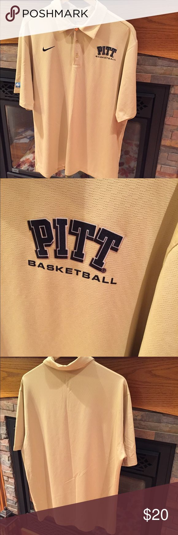 Nike Dri Fit PITT Basketball polo shirt EUC✨ Show  your pride for your team with this awesome PITT Basketball polo shirt. Perfect to wear to cheer your team on or wear it out on the golf course. Short sleeve shirt, with 3 buttons in front, PITT Basketball on left chest, NCAA emblem on right sleeve and Nike swoosh on the front.  Size Large  94% polyester 6% spandex No stains, marks or holes. From a smoke and pet free home. Nike Shirts Polos