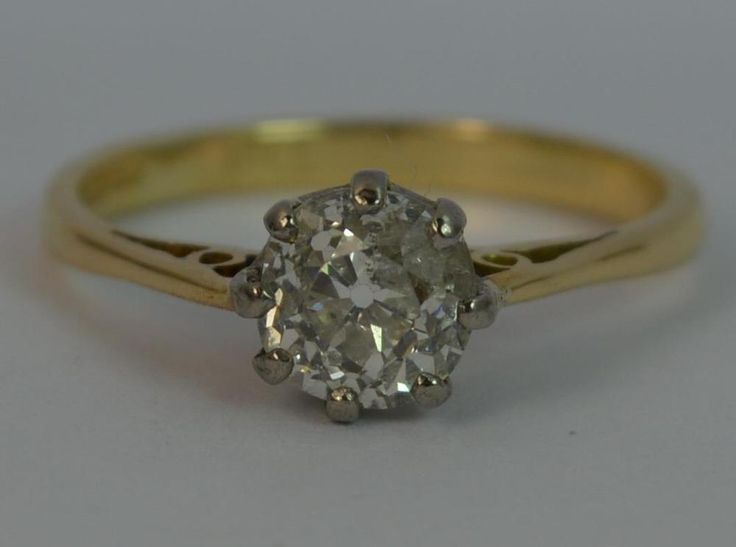 0.80ct Old Cut Diamond 18ct Gold Ladies Solitaire Engagement Ring d0664