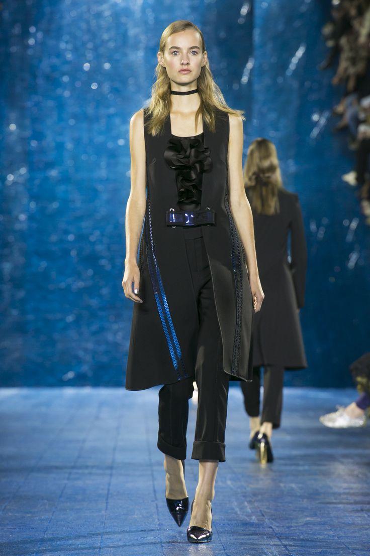 Look 38. Yasmin Gilet, Ruffle Top & Cigarette Trouser