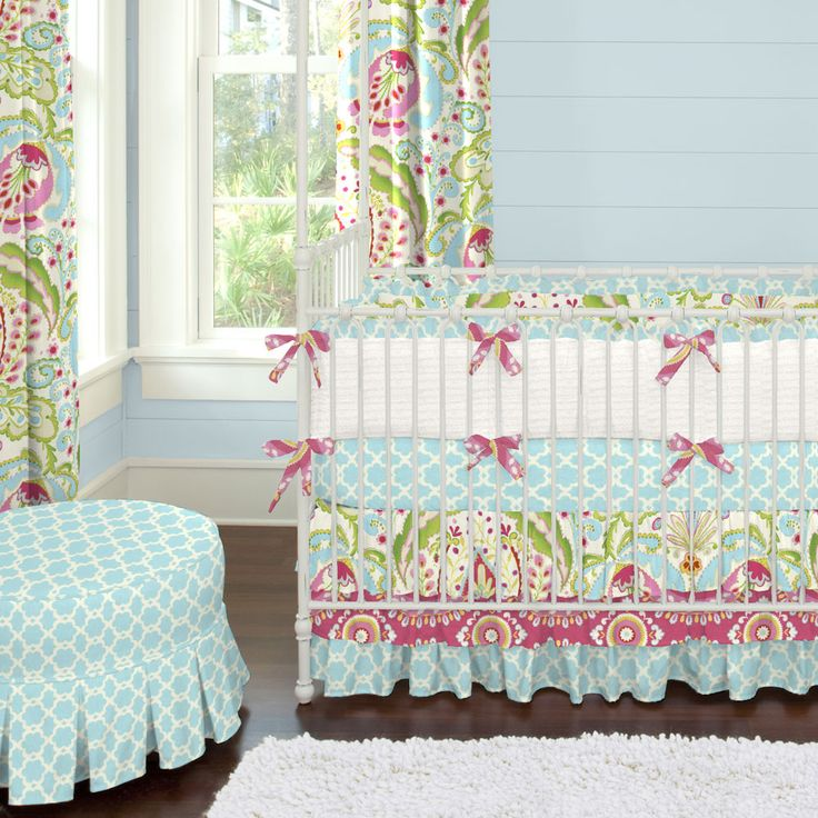 It's ok to play with pattern and color, especially in a #girlnursery. Kumari Garden Crib Bedding | Carousel Designs #carouseldesigns #babygirl
