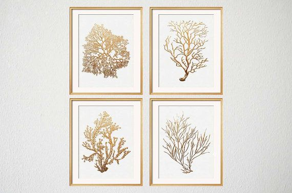 Gold Coral Print Set of Four Sea Coral Art Prints, Beach House Art, Fan Coral, Living Room Art, Gold Artwork, Gold Coral, Beach Bedroom Art