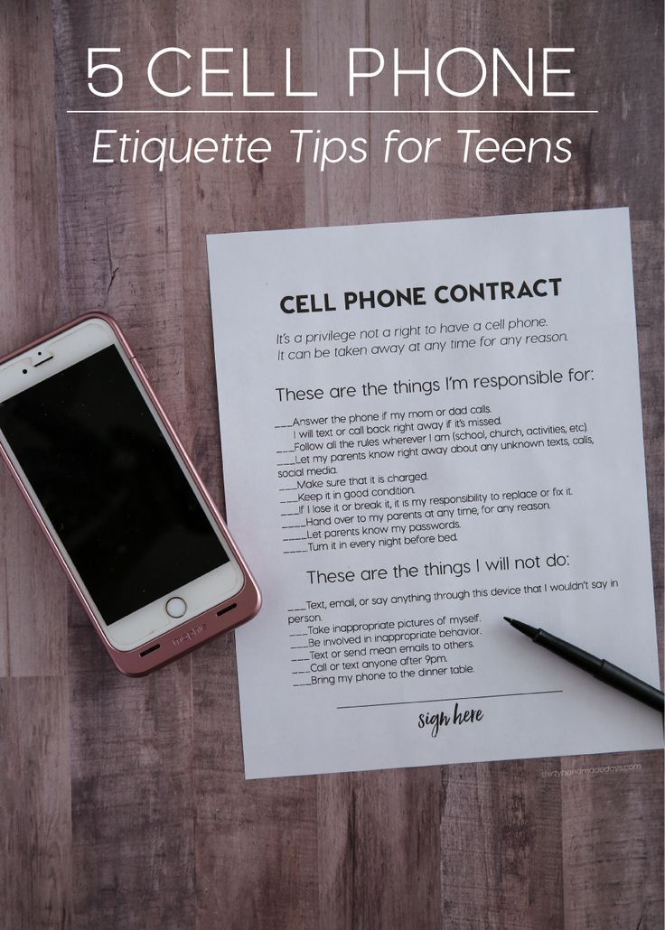 Kids and parenting: 5 Cell Phone Etiquette Tips for Teens from http://www.thirtyhandmadedays.com