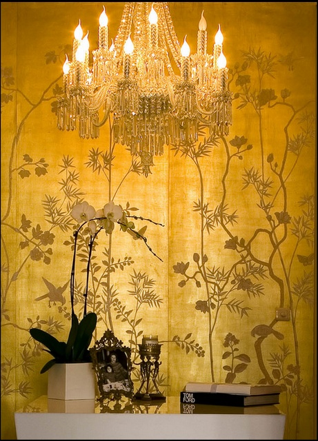 papier peint chinois doré