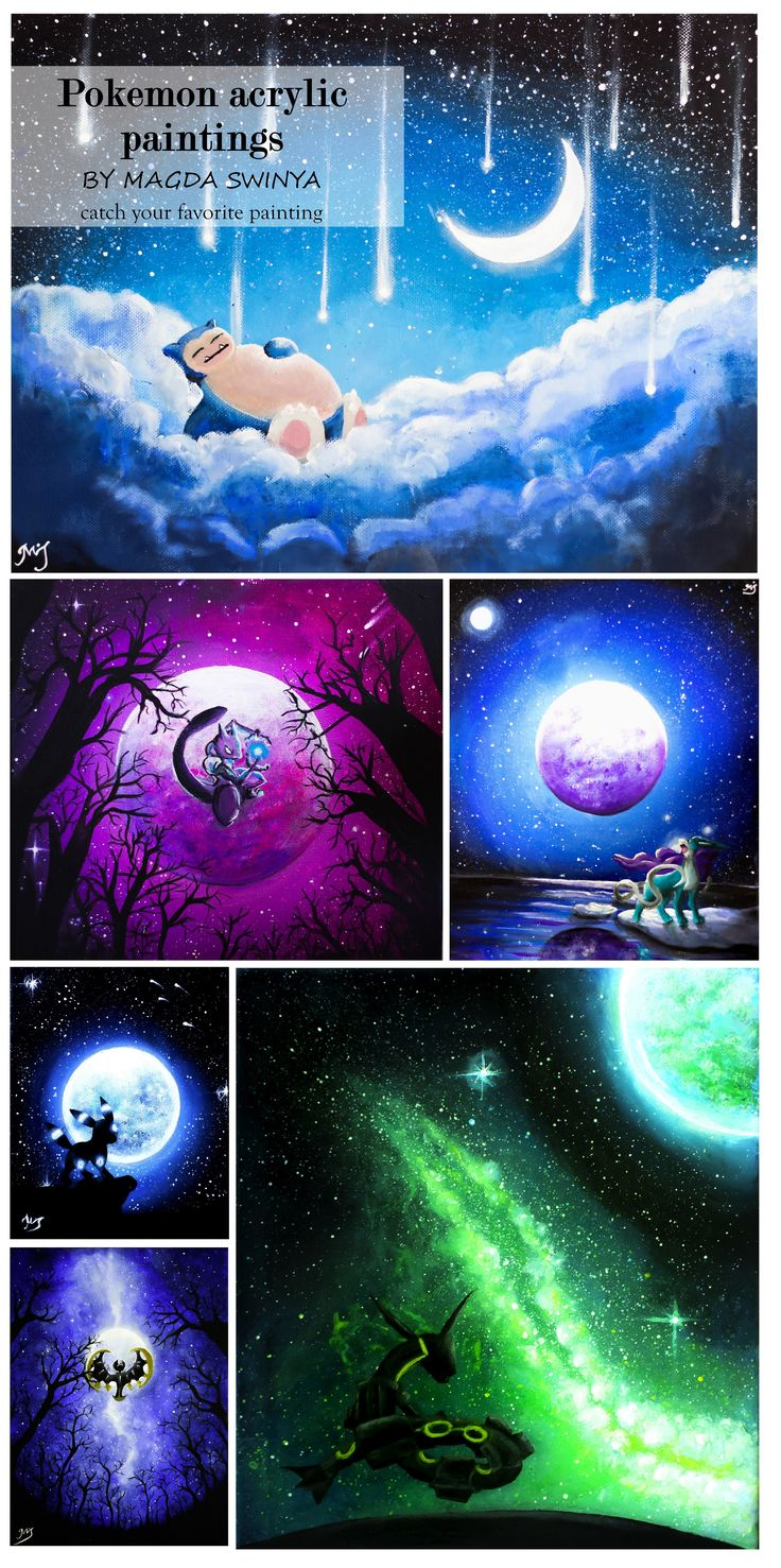 My Pokemon paintings collection <3 cuz nothing looks better than a pokemon on a canvas and a canvas on a wall :P #pokemon #art #painting #snorlax #mewtwo #shiny umbreon #rayquaza #suicune <3