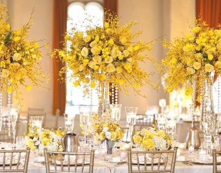 yellow reception wedding flowers, wedding decor, yellow wedding flower… More