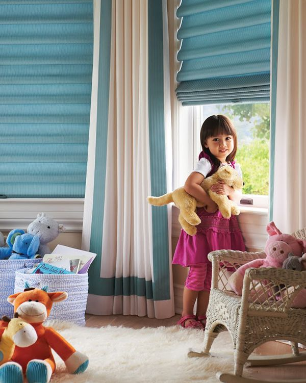 Love how these window treatments add brightness and dimension to this little girls room.