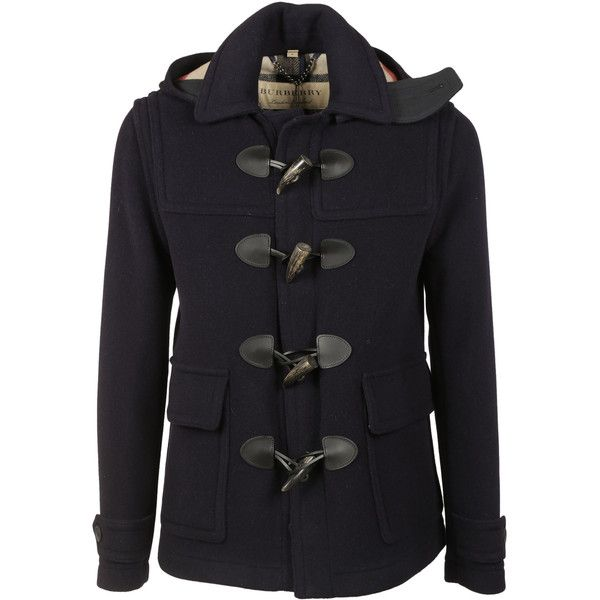 Burberry Burwood Duffle Coat (£655) ❤ liked on Polyvore featuring men's fashion, men's clothing, men's outerwear, men's coats, navy, mens navy pea coat, mens toggle duffle coat, mens toggle coat, mens leather coats and burberry mens coat