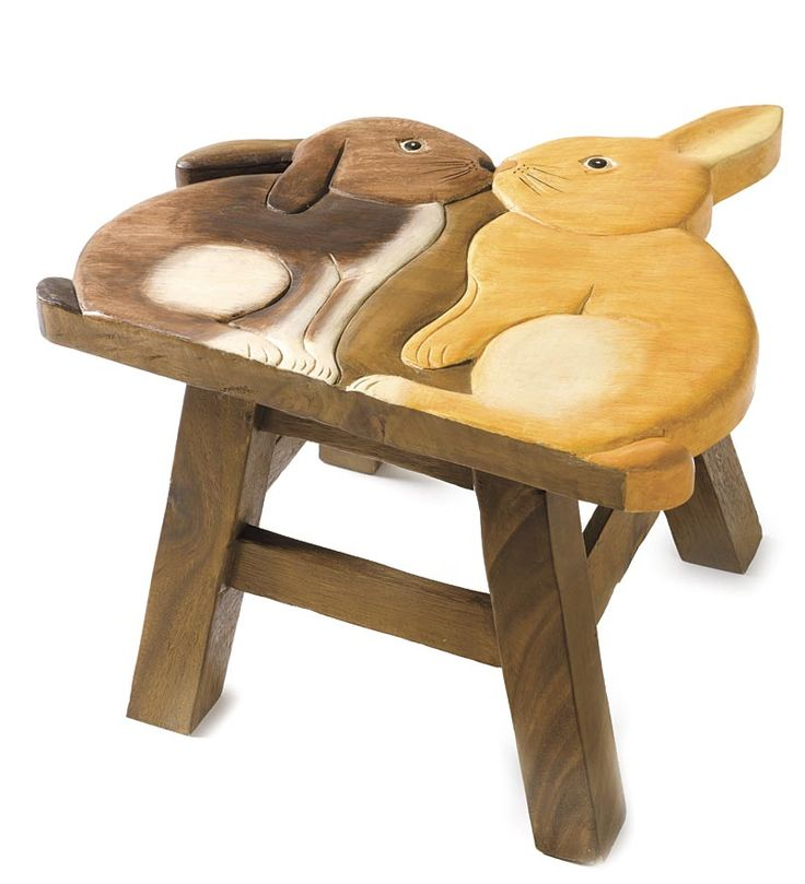 Hand-Carved Wooden Bunny Footstool ? Source Plow u0026 Hearth  sc 1 st  Pinterest & Best 25+ Wooden footstool ideas on Pinterest | Wood joints Wood ... islam-shia.org